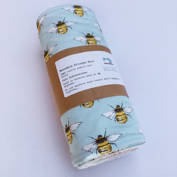 Reusable kitchen roll - unpaper towels - zero waste cloths made from 100% cotton. Bumble bee design - Sustainable and eco friendly gift
