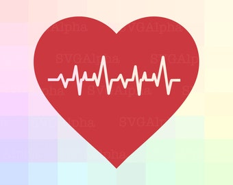 Beating Heart SVG File, Heartbeat Clipart, Beating Heart Dxf, Heartbeat Silhouette, Heartbeat Cut File, Pulse SVG File, Pulse Clipart