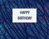 Happy Birthday Card | Navy Blue Squiggles & Swirls | Quirky Card
