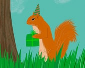 Party Squirrel Card | Whimsical Nature Illustration | Quirky Card