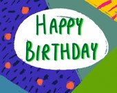 Birthday Card | Colourful Geometric Greetings Card | Quirky Card