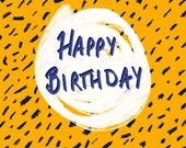 Happy Birthday Card | Mustard Yellow & Navy Blue | Quirky Card