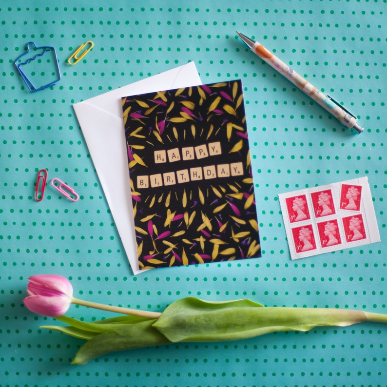 Birthday Card  Scrabble Tiles & Flower Petals  Quirky Card image 0