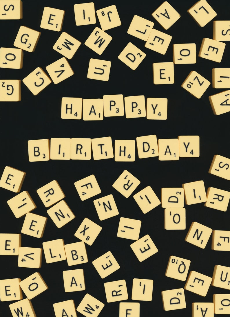 Birthday Card  Scrabble Tiles  Quirky Card image 0
