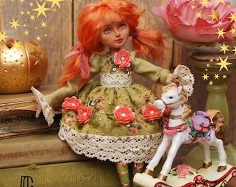 Art doll textille doll handmade green dress