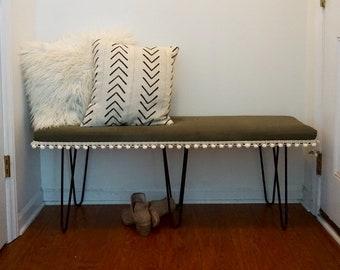 Boho bench, entryway, mudroom, end of bed, home decor bench