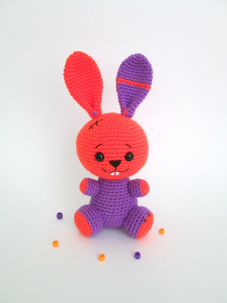 Halloween gift for baby Crochet rabbit Stuffed zoo animal image 1