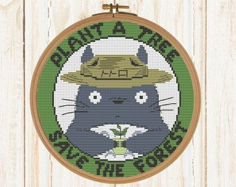 Save Forest cross stitch pattern embroidery anime Forest Spirit