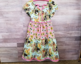 Girls Kittens Peasant Dress sizes 6 months to 6