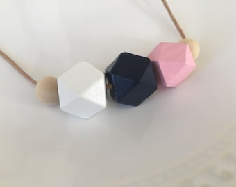 Gift for her, Geometric Necklace, Hexagon Statement Necklace, Chunky Necklace, Wooden Necklace, Pink Blue Necklace