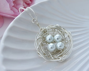Silver Birds Nest Pendant Necklace | Unique Jewellery | Birthday | Gift Wrapped