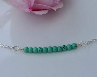 Sterling Silver & Turquoise Beaded Bar Bracelet