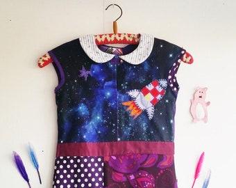Rocket Dress, Cool Dress, Girls Dress, Fun Dress, Rocket Girl, Upcycled  Dress, Purple Dress, Girls Dress size 7, Girls Dress size 8,