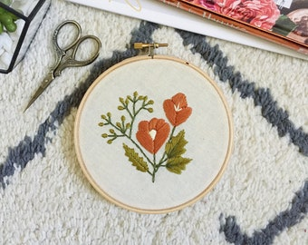 """5"""" floral embroidery hoop, nature embroidery"""
