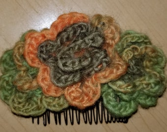 Crochet Rose Hair Comb