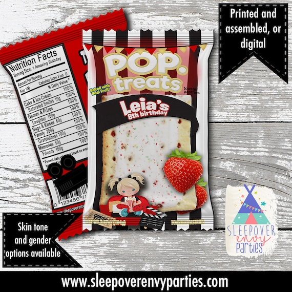 Movie Night Pop Tart Favor Birthday Custom