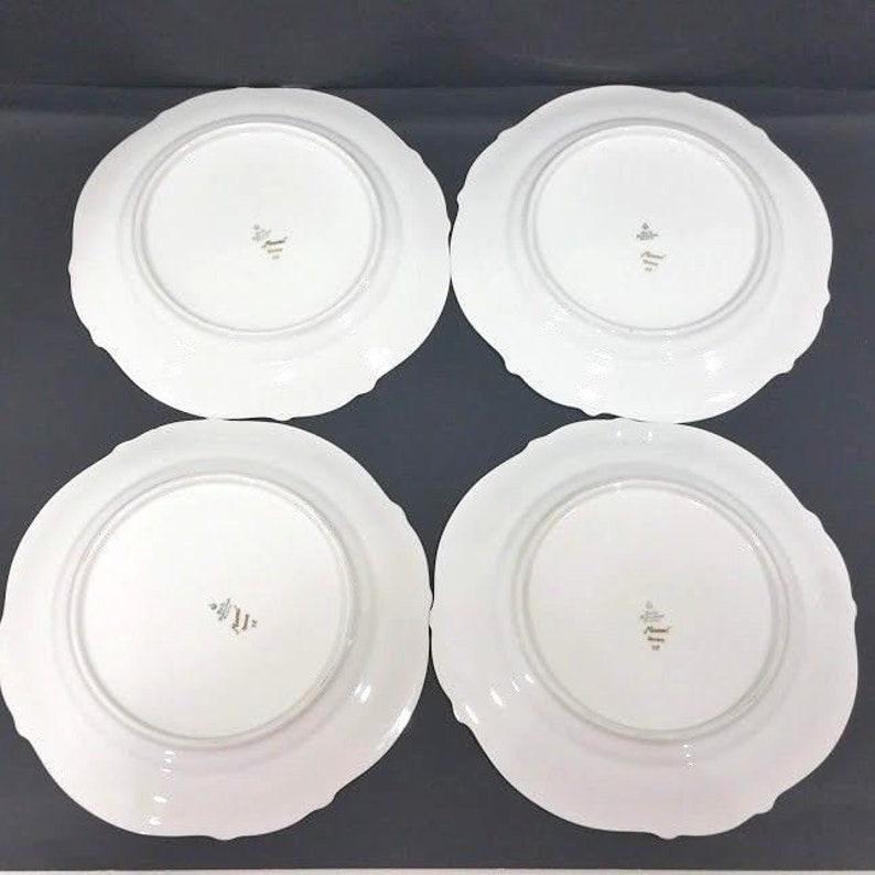 Set of 4 TIRSCHENREUTH Bavaria Naomi Germany dinner plates  gold trim 10 12