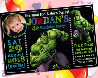 Hulk Invitation.Hulk Birthday.Hulk Chalkboard.Superhero Printable.Avengers Invitation.Superhero Personalize-SAR1