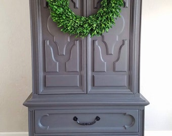 SOLD // Armoire Wardrobe / Handmade / Excellent Detail / Storage / Cabinet / Gray / Country Chic