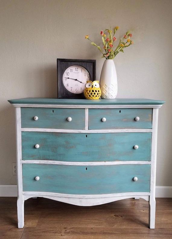 SOLD // Serpentine Dresser / Distressed / 4 drawer / Blue / White / Country  Cottage