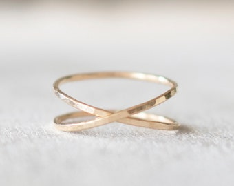 Super Thin Hammered Gold X Ring, Gold Criss Cross Ring, 14k Gold Ring, Gold  Filled Ring, Gold Rings for Women 984b8ff3027