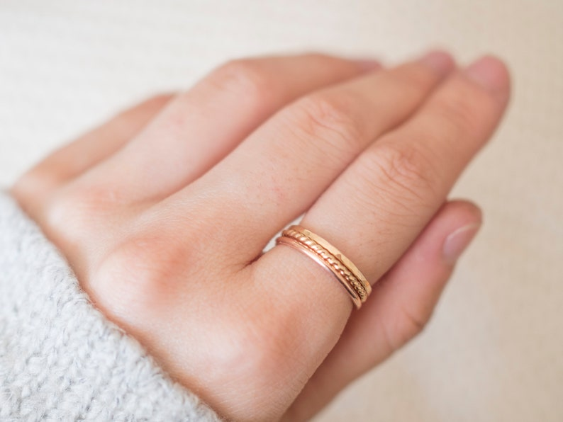 Thin Rose Gold Filled Ring Gold Rings for Women Gold Hammered Ring Gold Twist Ring Thin Rose Gold and Gold Ring Set of 3