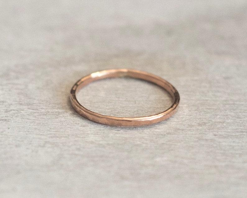 Dainty Rose Gold Ring Pink Gold Midi Rings Thin Rose Gold Filled Ring Set 14k Rose Gold Rings for Women