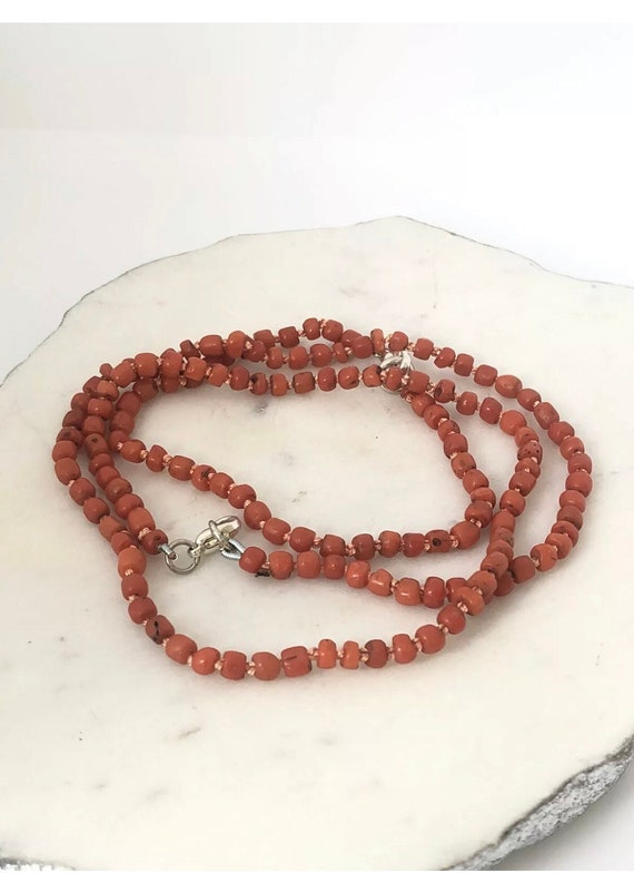 ANTIQUE EDWARDIAN CORAL Necklace and Bracelet Set