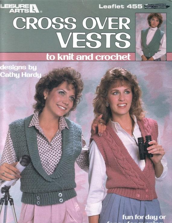 Vintage Cross Over Vests Knit And Crochet Patterns Etsy