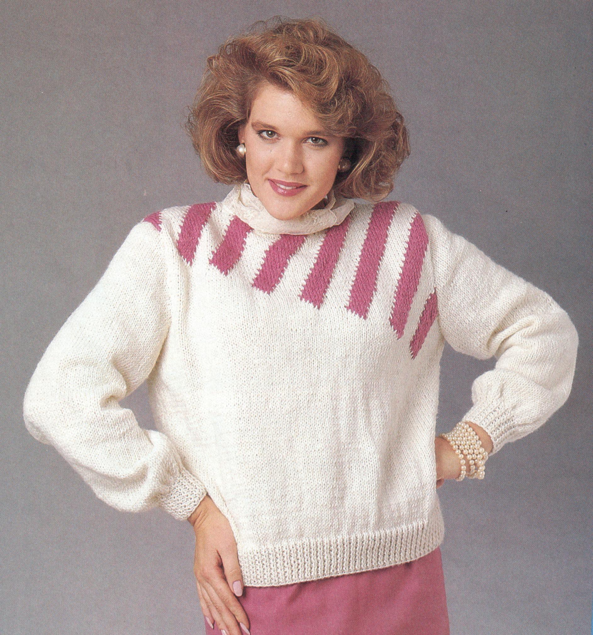 4db409c111144 Diagonal Stripe Pullover Knitting Pattern
