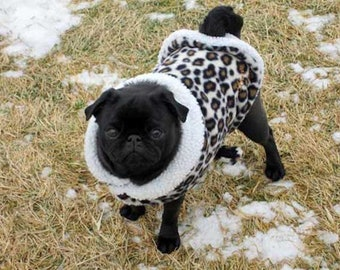 Pug Snuggly's Handcrafted in USA Snowy Leopard coat for the Pug Figure, Winter Wear. LIMITED QUANTITIES!!!