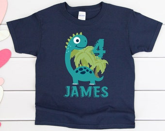 af32ef44 Dinosaur Birthday Shirt Birthday Party Shirt Kids Childrens Personalized  Birthday Tee For Boys Party Custom Name Age