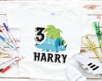 ac6f09bda Children's Dinosaur Birthday Shirt Custom Dinosaur Kids T-Shirt Birthday  Age And Name Personalized Gift White Black Navy Grey