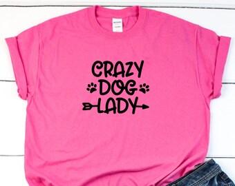 6db0779257 Crazy Dog Lady Women's Funny Dog Lover T-Shirt Shirt -  Pink/White/Black/Grey (S-XXL)