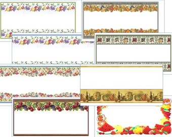 24 x Attractive printed Jam or Preserve Labels,  BorderType, Self Adhesive,  Various Designs 64mm x 34mm
