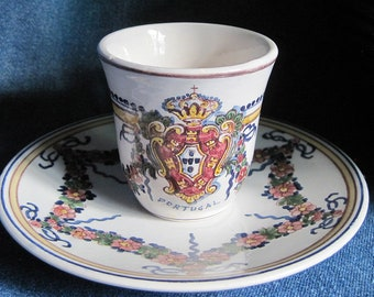 Outeiro Agueda Hand Painted Portugal Vintage Cup and Saucer