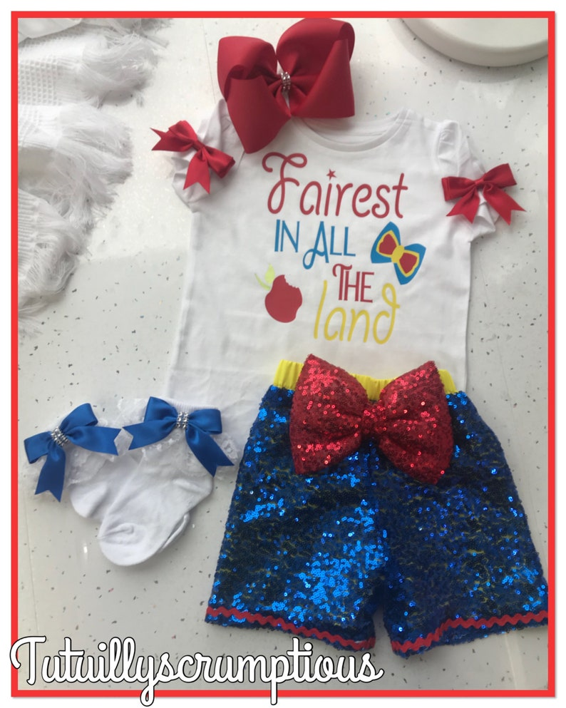 d983c00bd Snow White inspired sequin shorts and tshirt set handmade from ages 0-10  years (bow and socks NOT included)