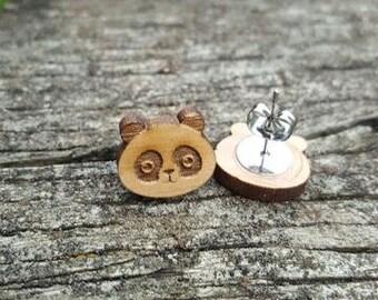 Panda Bear n Flowers| Wooden Earrings | Jewelry | Handmade | OMGstuds