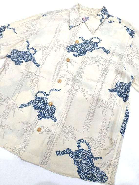 Bamboo Jungle RARE Traditional Shirt Crouching Rayon Japanese ONIWA in Hawaii Tiger SOTO Motif Scripture 8Arn6z8