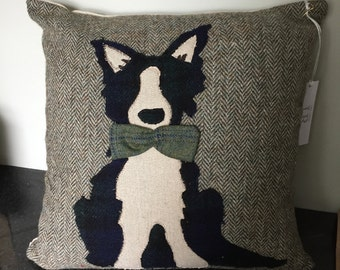 Tweed border collie cushions