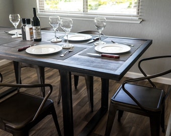 Industrial Dining Table Etsy - All glass dining room table