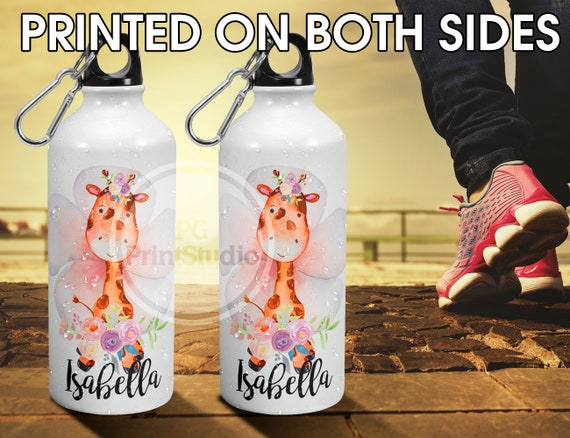 aluminium kids personalised water bottle personalise giraffe water bottle glitter animals personalised girls and boys lunch bag