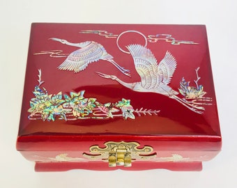 Vintage Lacquer Mother of Pearl Inlaid Musical Jewelry Box