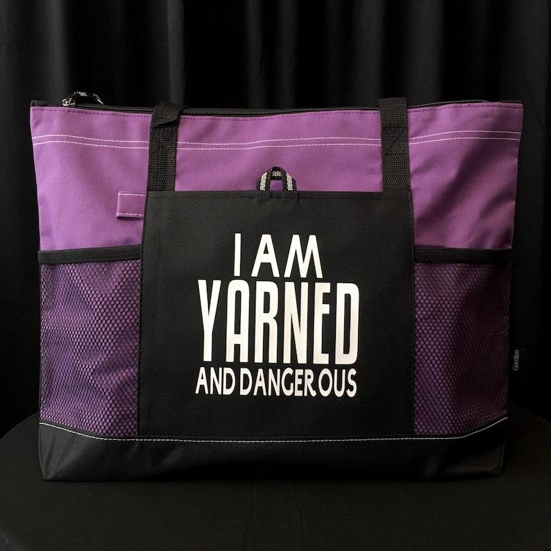 Yarn Tote Bag Yarn Organizer Project Bag Pocket Tote Purple