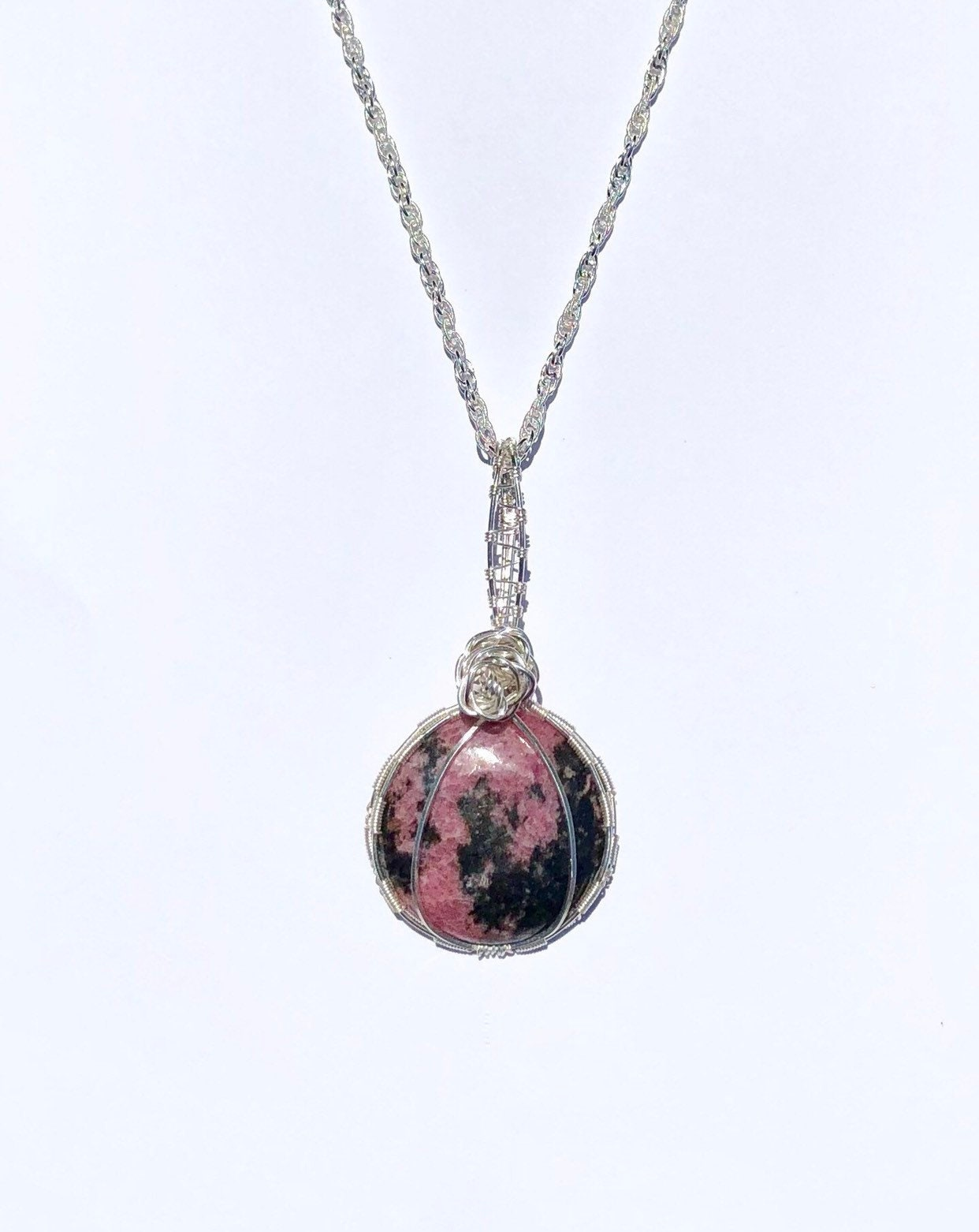 Rhodonite Pendant Necklace/ Rhodonite Necklace/ Pink and