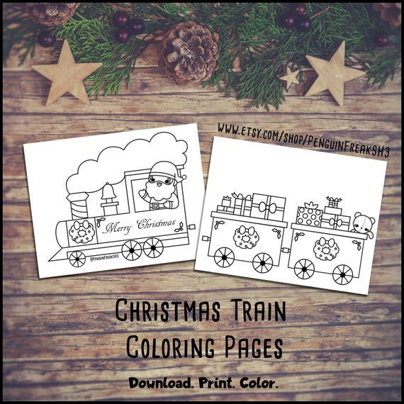 Cute Christmas Coloring Pages Christmas Train Holiday Etsy