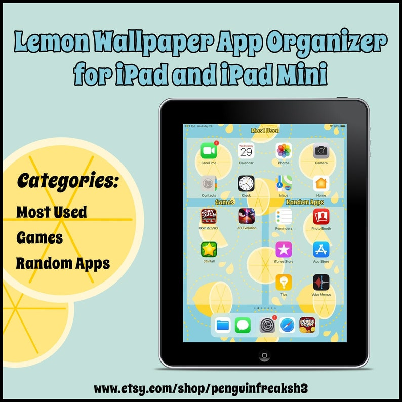 Cute Lemon Background App Organizer Wallpaper For Ipad And Etsy