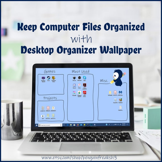 Cute Kawaii Penguin With Pencil Desktop File Background Etsy