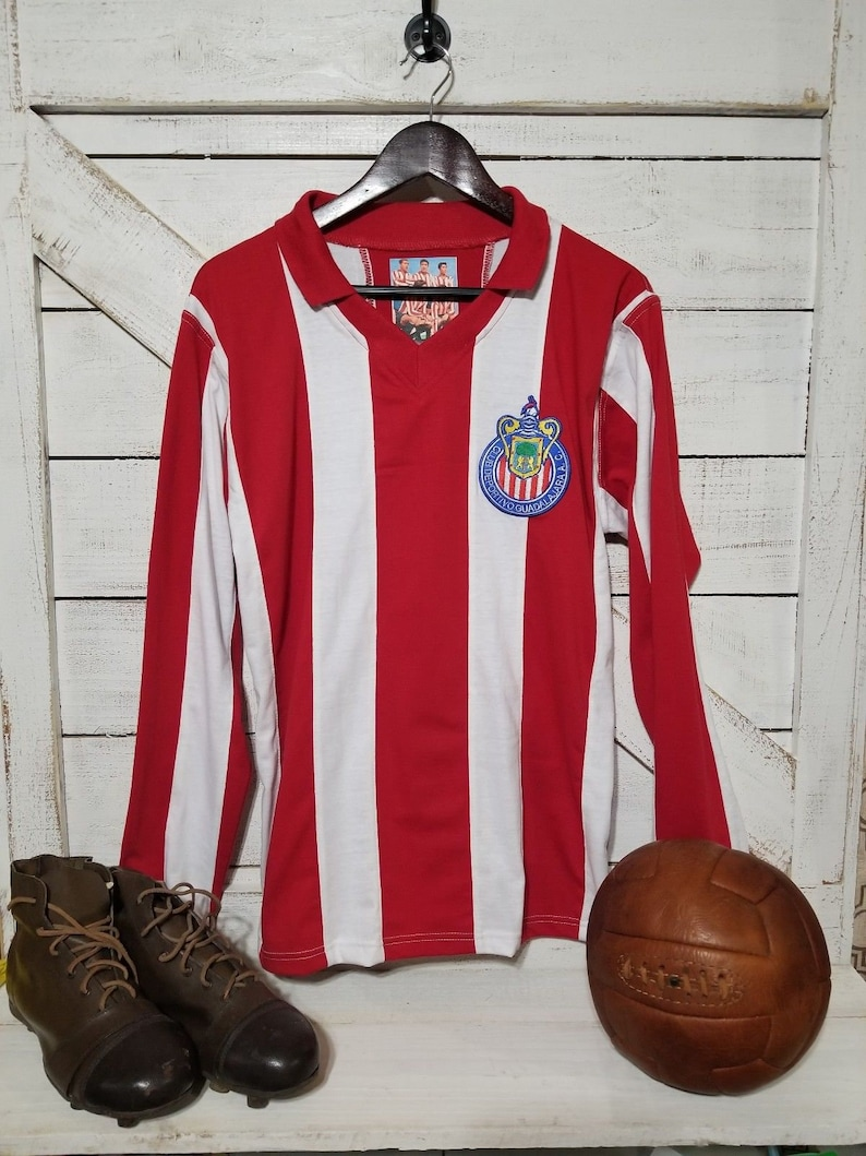 sports shoes 5b783 af4f5 Club Guadalajara Chivas Jersey 1960's Campeonisimo Retro Jersey LONG-SLEEVE
