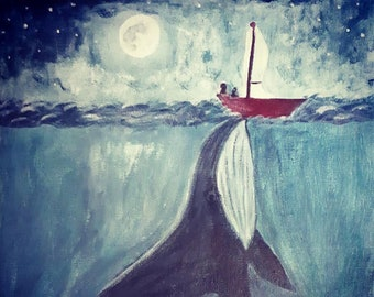The whale and the fishing boat original painting